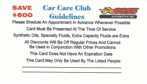 boss automotive car care card back